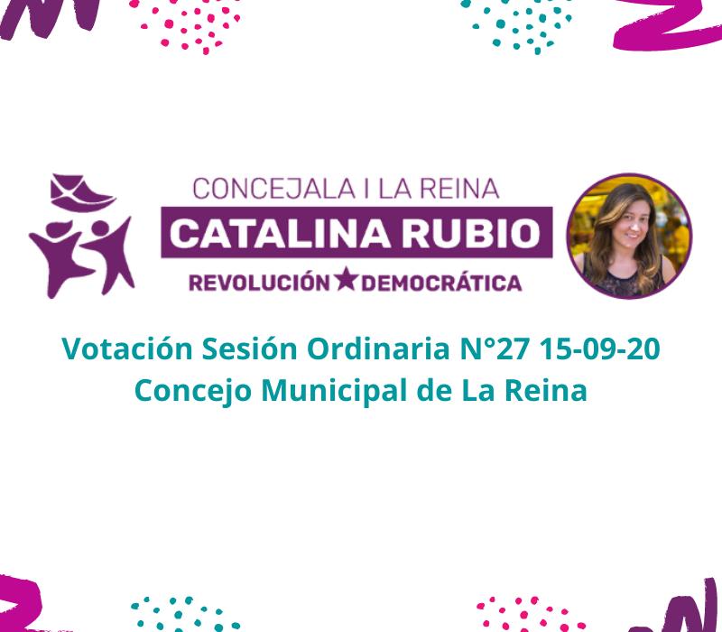 Votación Sesión Ordinaria  N°27 15-09-2020