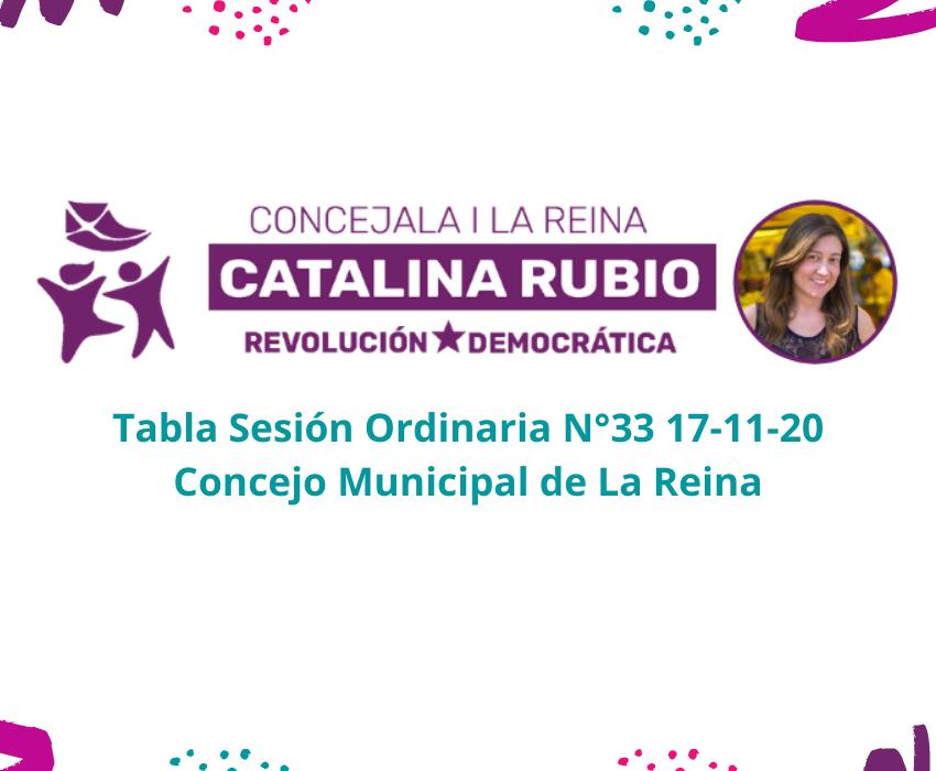 Tabla Sesión Ordinaria N°33 17-11-20 Concejo Municipal de La Reina